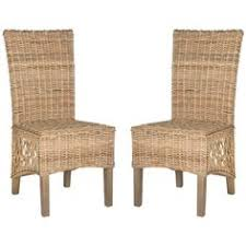 bring breezy appeal to your dining room or breakfast nook with this charming side chair showcasing a woven rattan seat and wood frame set of 2