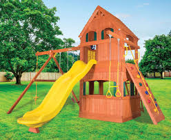 parrot island fort xl w wood roof treehouse panels playhouse panels and yellow