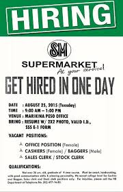 marikina jobs at sm supermarket sales clerk jobs