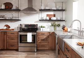 opt for open shelves instead of upper cabinets to provide display space and make a small kitchen feel larger install shelves at standard upper cabinet