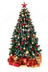 christmas trees decorated with presents. Exellent Presents Artificial Green Christmas Tree Decorated With Electric Lights Red And  Golden Ornaments Lots Of Presents Under The Tree U2014 Photo By Erierika In Trees Decorated With Presents L