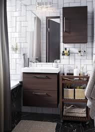 bathroom furniture designs. small white bathroom with dark brown open and closed storage furniture designs