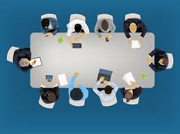 business meeting concept ilration in an aerial view with people sitting around a conference table