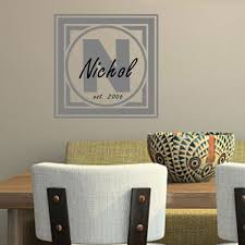 square framed family name monogram vinyl wall decal