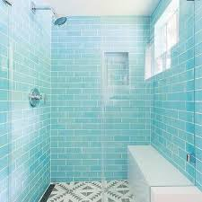 turquoise blue glass shower tiles