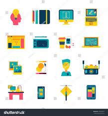 Flat Web Design Color Palette Web Design Flat Icons Set Creative Stock Vector Royalty