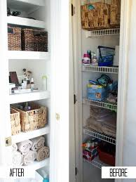 before and after bathroom linen closet