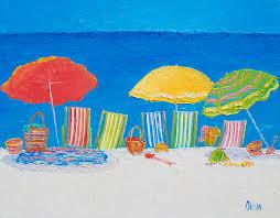 beach painting beach painting deck chairs by jan matson