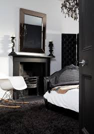 Designs Ideas:Classic Bedroom With Black And White Bed On Black Fluffy Rug  Also Rocking