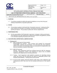 iso standard operating procedures template sop 02 001 rev 008 personnel hiring