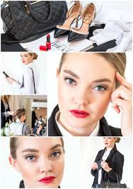 professional makeup look for work with red lips and clic eye makeup created by klava z