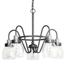 progress lighting crofton 5 light rustic pewter chandelier brushed nickel