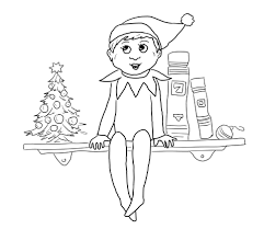 Elf Sits On Shelf Coloring Page Free Printable Coloring Pages