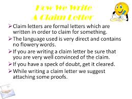 Claim Letters Writing Letters Claim Letters Ppt Download