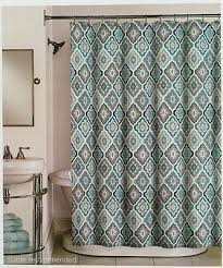 aqua and gray shower curtain. peri lilian tile medallion aqua teal grey white - fabric shower curtain new | what\u0027s it worth and gray l