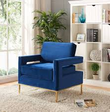 blue velvet accent chair. Meridian Furniture Noah Contemporary Navy Blue Velvet Accent Chair Reviews-511Navy-Accent-Chair
