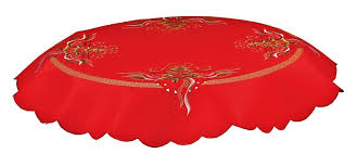 embroidered green tree gold ribbon red tablecloth 85x85cms 34 round