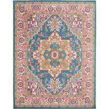 passion teal multicolor 8 ft x 10 ft large area rug