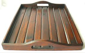 large rustic dark wood teak serving tray