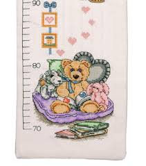 Cross Stitch Height Chart Kit Anchor Counted Cross Stitch Kit Teddy Height Chart
