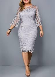 Modlily Size Chart Round Neck Three Quarter Sleeve Plus Size Dress Modlily Com Usd 41 20