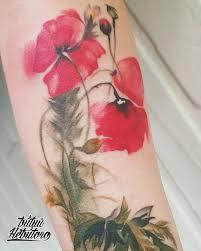 тату цветы маки тату цветы на руке цветная тату цветыакварель тату