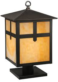 backyard craftsman style outdoor lighting rustic post lights mount mission art glass stickley