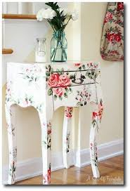 floral decoupage furniture. a sort of fairytale cottage style and color love this side table its floral prints decoupage furniture p