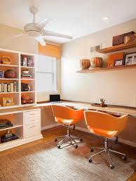 alcove office. contemporary orange and white home office alcove