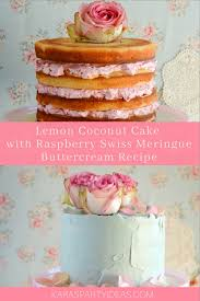 Karas Party Ideas Lemon Coconut Cake With Raspberry Swiss Meringue