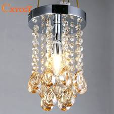 luxury mini small crystal chandelier lighting fixture with champagne teardrop crystals for living room closet bathroom
