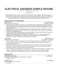 Electrical Engineer Resume Simple Electrical Engineer Resume Format Sample Electrical Resume Format
