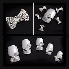 Special Nail Art Accessories White Rhinestones Bow Diamond Nail Jewelry Decorations