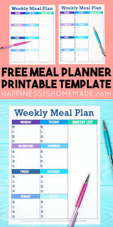 free menu planner printable weekly meal planner template happiness is homemade