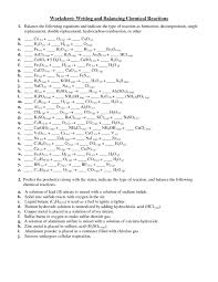 writing chemical equations worksheet answer key chemical equations and reactions worksheet free worksheets library