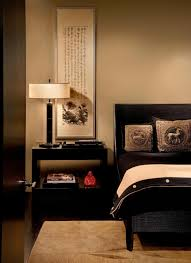 Brown Tufted Frame Bed Asian Bedroom Design Two Drawers Night - Beige and black bedroom