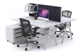 computer desk for office. Elements - 2 Person Workstation Double Sided With Divider White Leg Office Furniture [1200L X Computer Desk For I