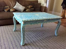 blue coffee table decor image and description