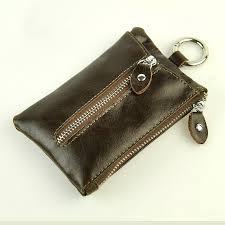 men retro genuine real leather keychain wallet classic key holder zip coin change bag belt hook case vintage practical accessory