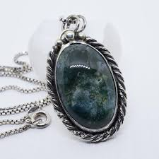 i made a sterling silver and moss agate pendant