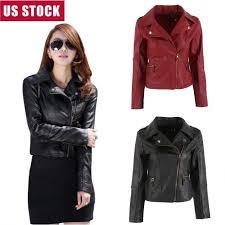 details about 3xl women slim leather jacket biker motorcycle zipper coat outwear top plus size