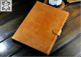handmade genuine real leather book wallet case cover for apple ipad 5 brown for ipad air leather case in tablets e books case from computer office on
