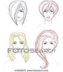 Collection De Visages Femmes Clipart
