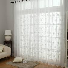 embroidery flower design white sheer curtains loading zoom