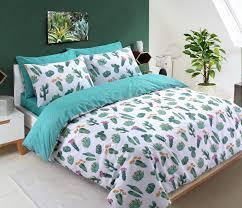 cactus print single double duvet cover reversible tropical summer white green