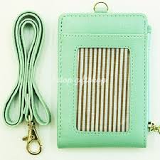 lanyard id holder wallet badge neck strap leather
