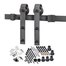 96 in matte black steel top mount sliding barn door kit