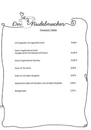 Der Nudelmacher Speisekarte