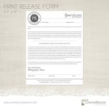 Print Release Forms Interesting Print Release Form Template For Photographers Photographer Etsy