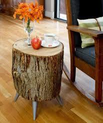 diy outdoor log furniture. Vintage Wood Log Side Table Diy Outdoor Furniture